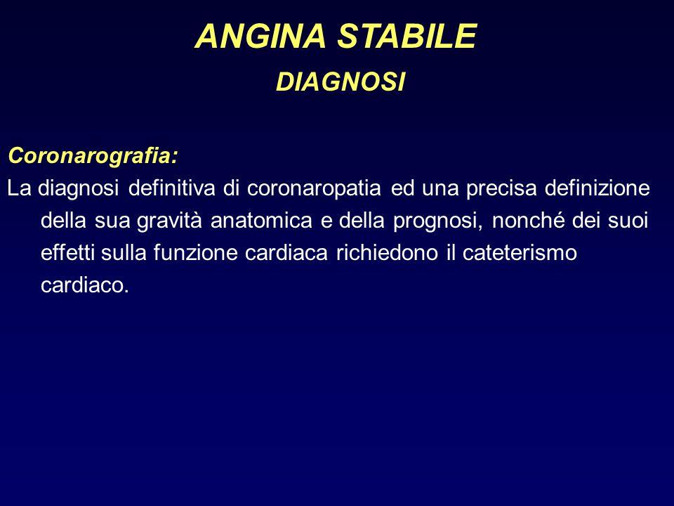 ANGINA STABILE DIAGNOSI Coronarografia:
