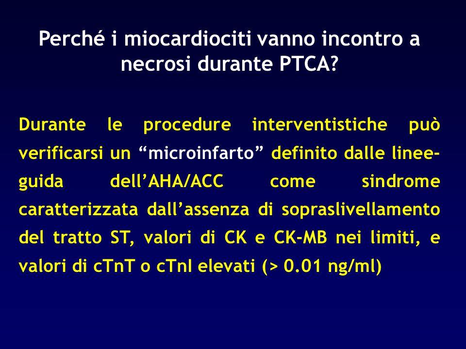 Perché i miocardiociti vanno incontro a necrosi durante PTCA