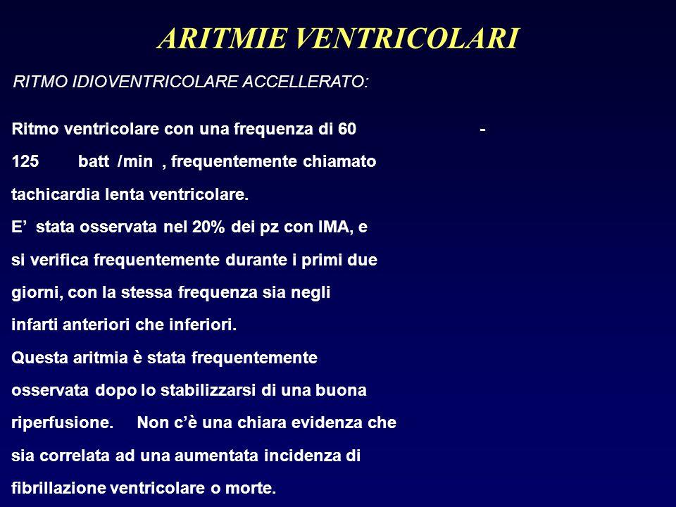 ARITMIE VENTRICOLARI RITMO IDIOVENTRICOLARE ACCELLERATO: