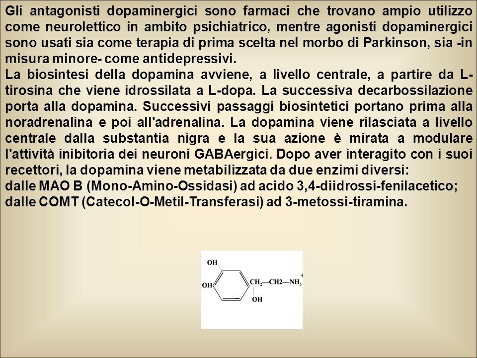 Gli antagonisti dopaminergici sono farmaci che trovano ampio utilizzo come neurolettico in ambito psichiatrico, mentre agonisti dopaminergici sono usati sia come terapia di prima scelta nel morbo di Parkinson, sia -in misura minore- come antidepressivi.