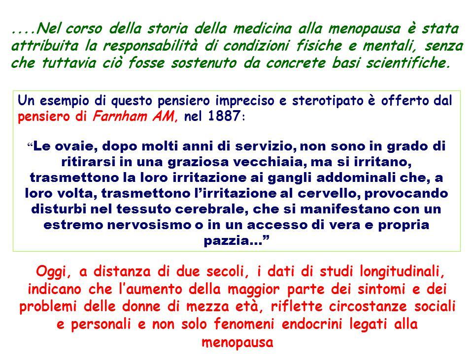 ....Nel corso della storia della medicina alla menopausa è stata attribuita la responsabilità di condizioni fisiche e mentali, senza che tuttavia ciò fosse sostenuto da concrete basi scientifiche.