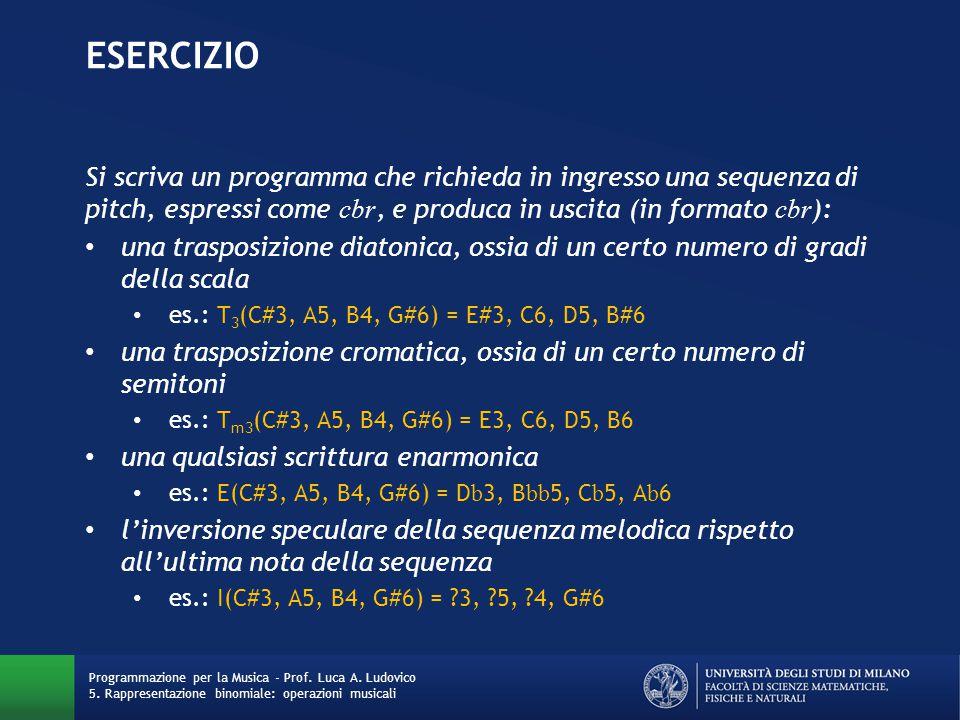 EseRCIZIO Si scriva un programma che richieda in ingresso una sequenza di pitch, espressi come cbr, e produca in uscita (in formato cbr):