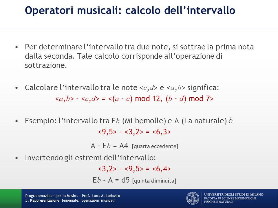 Operatori musicali: calcolo dell'intervallo