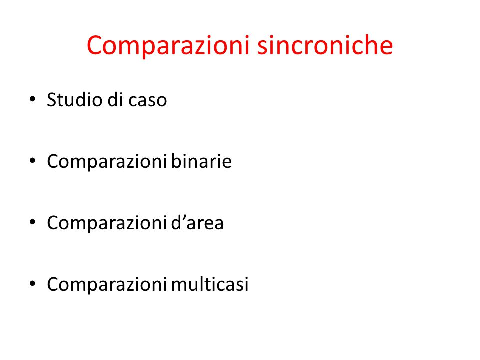 Comparazioni sincroniche