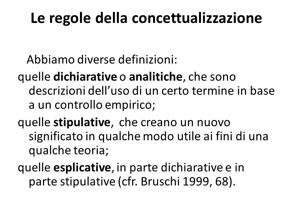 Le regole della concettualizzazione