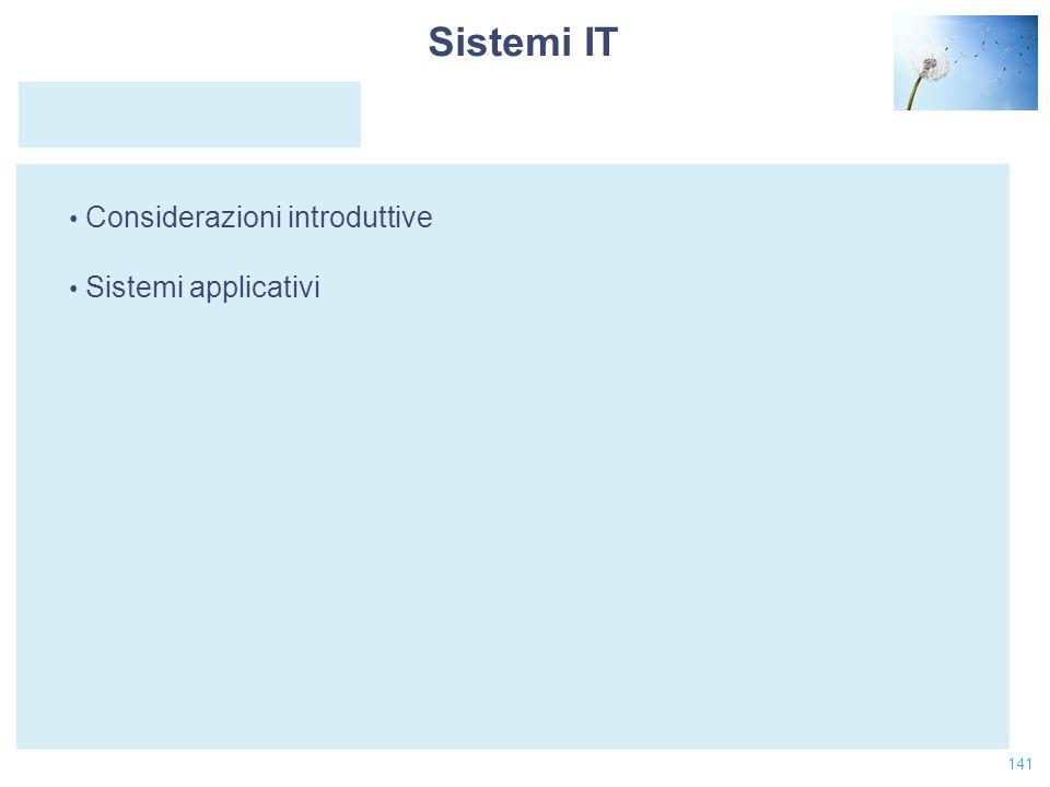 Date Sistemi IT Considerazioni introduttive Sistemi applicativi
