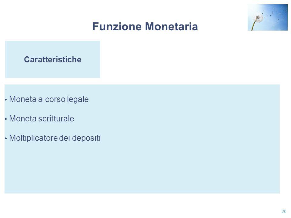 Funzione Monetaria Caratteristiche Moneta a corso legale