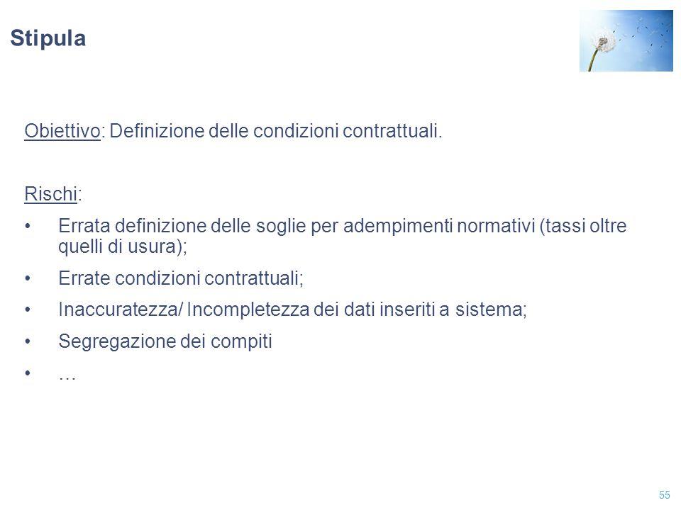 Stipula Obiettivo: Definizione delle condizioni contrattuali. Rischi: