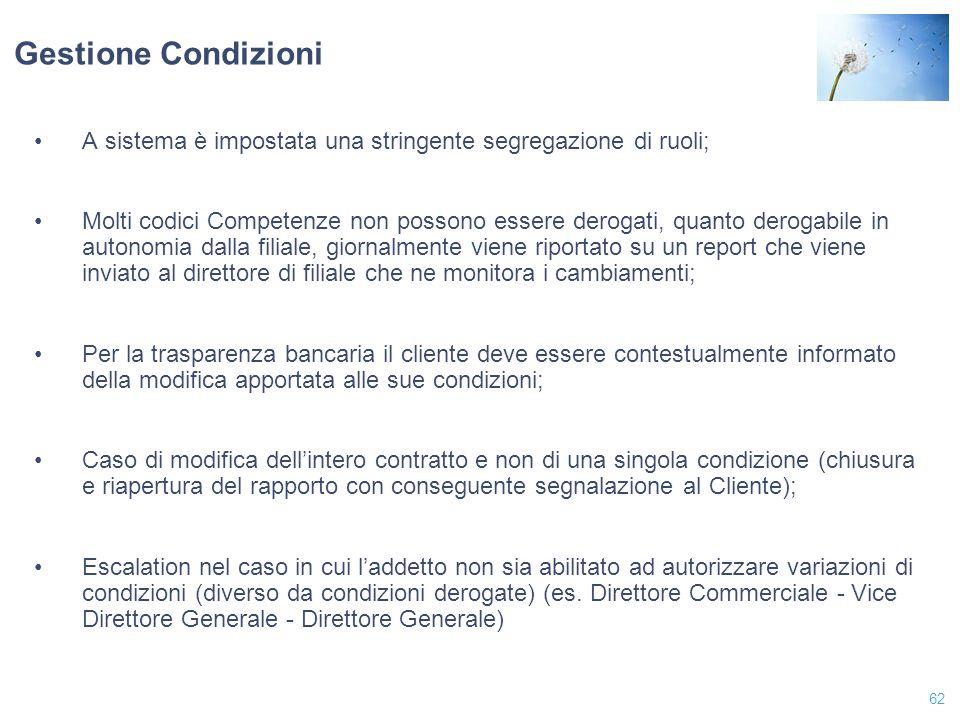 Gestione Condizioni A sistema è impostata una stringente segregazione di ruoli;