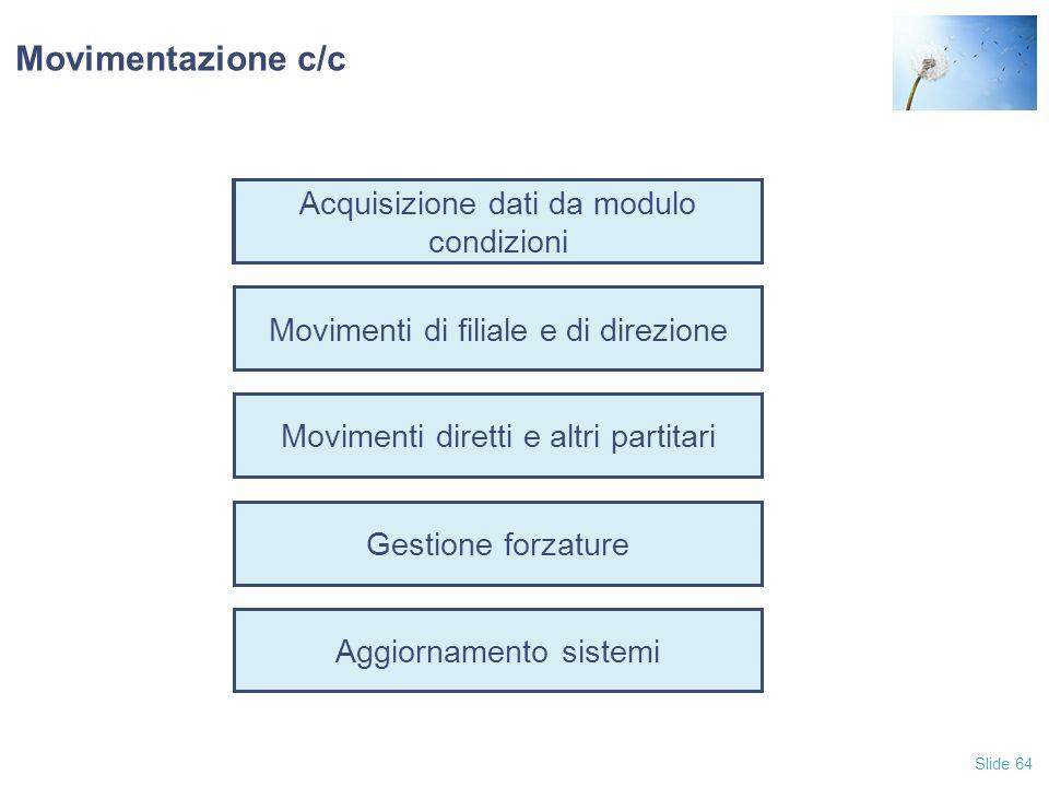 Movimentazione c/c Acquisizione dati da modulo condizioni