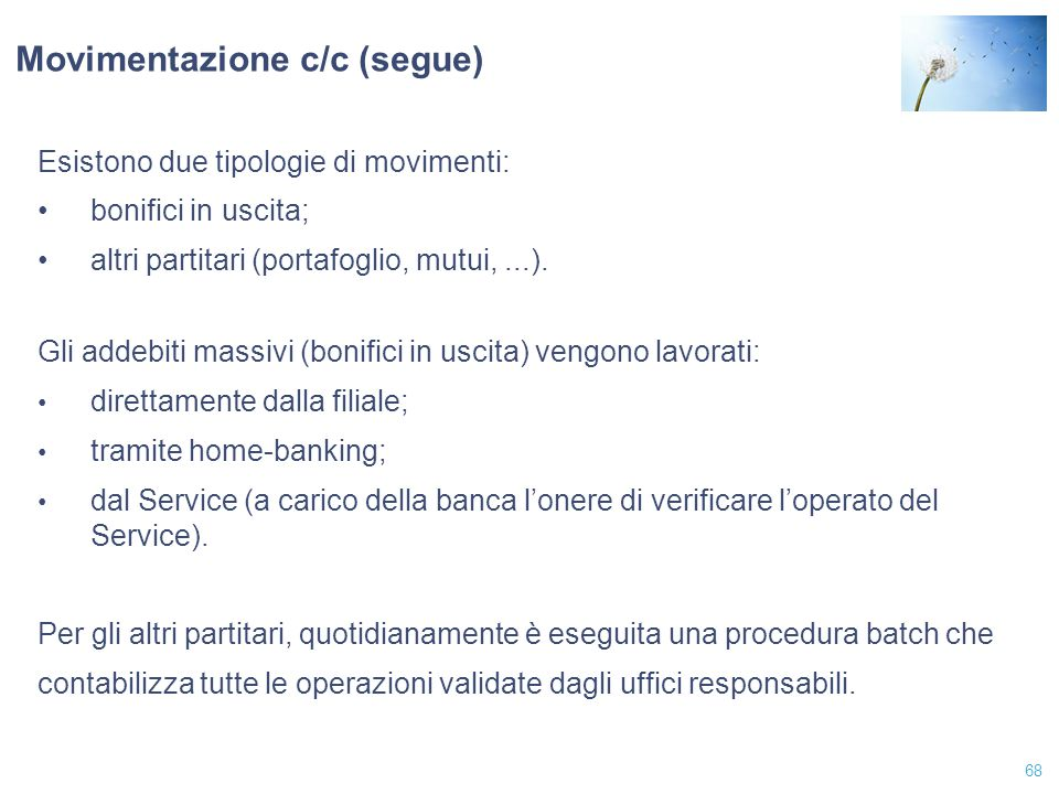 Movimentazione c/c (segue)