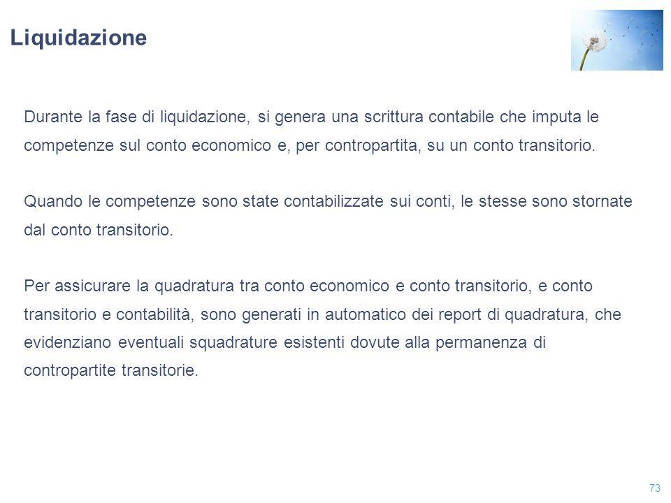 Liquidazione Durante la fase di liquidazione, si genera una scrittura contabile che imputa le.