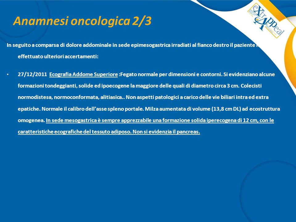 Anamnesi oncologica 2/3