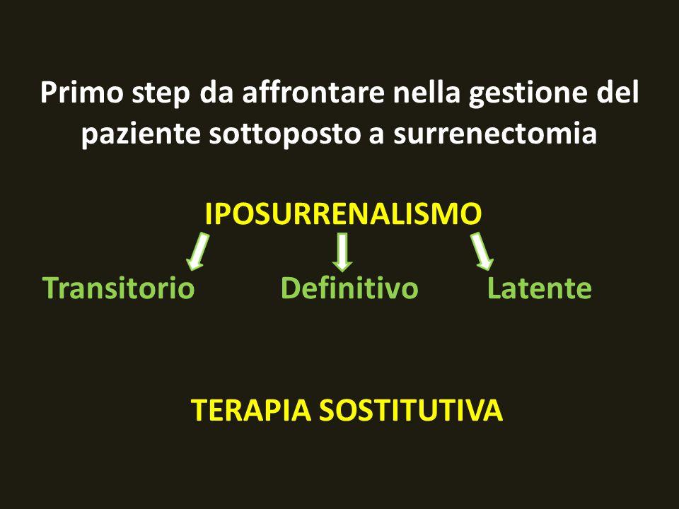 Primo step da affrontare nella gestione del paziente sottoposto a surrenectomia