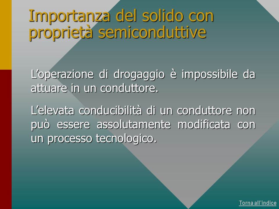 Importanza del solido con proprietà semiconduttive