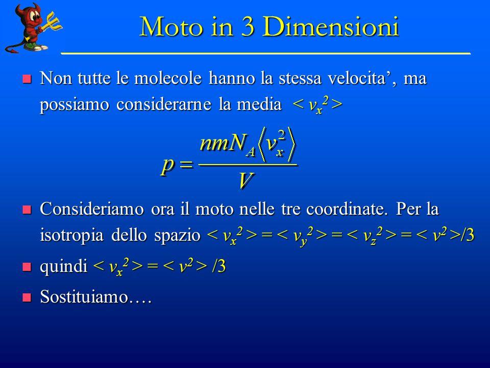 Moto in 3 Dimensioni Non tutte le molecole hanno la stessa velocita', ma possiamo considerarne la media < vx2 >