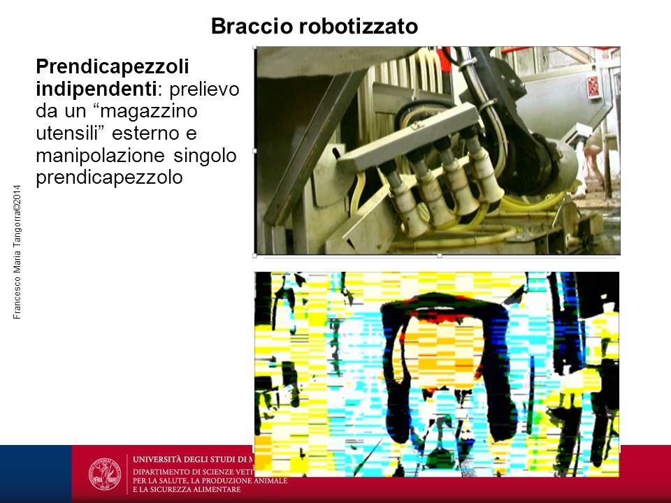 Braccio robotizzato Prendicapezzoli indipendenti: prelievo da un magazzino utensili esterno e manipolazione singolo prendicapezzolo.