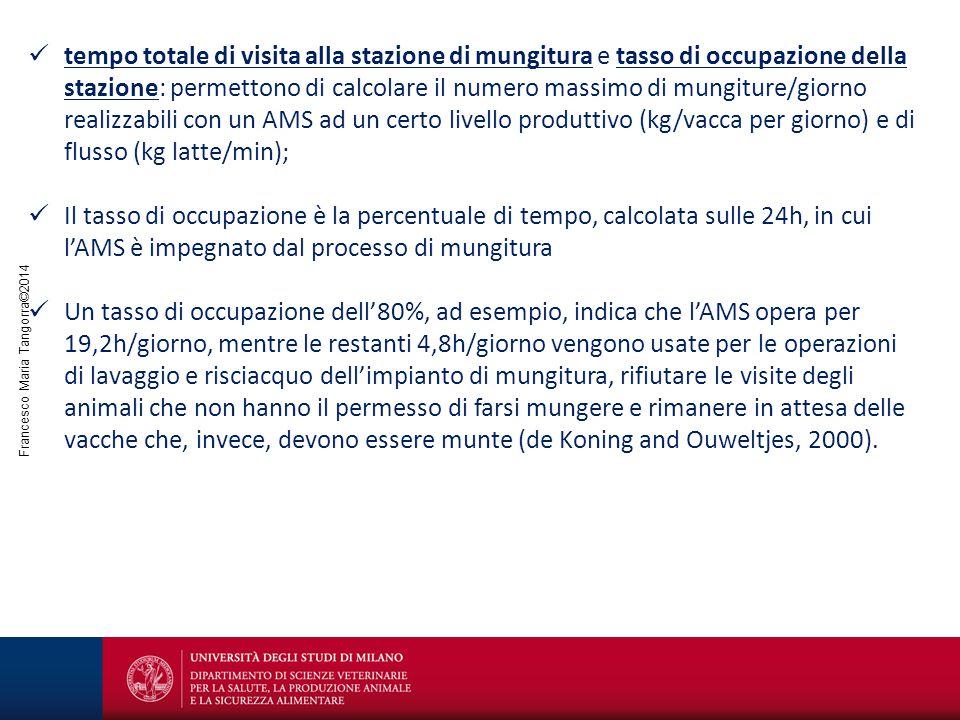 tempo totale di visita alla stazione di mungitura e tasso di occupazione della stazione: permettono di calcolare il numero massimo di mungiture/giorno realizzabili con un AMS ad un certo livello produttivo (kg/vacca per giorno) e di flusso (kg latte/min);