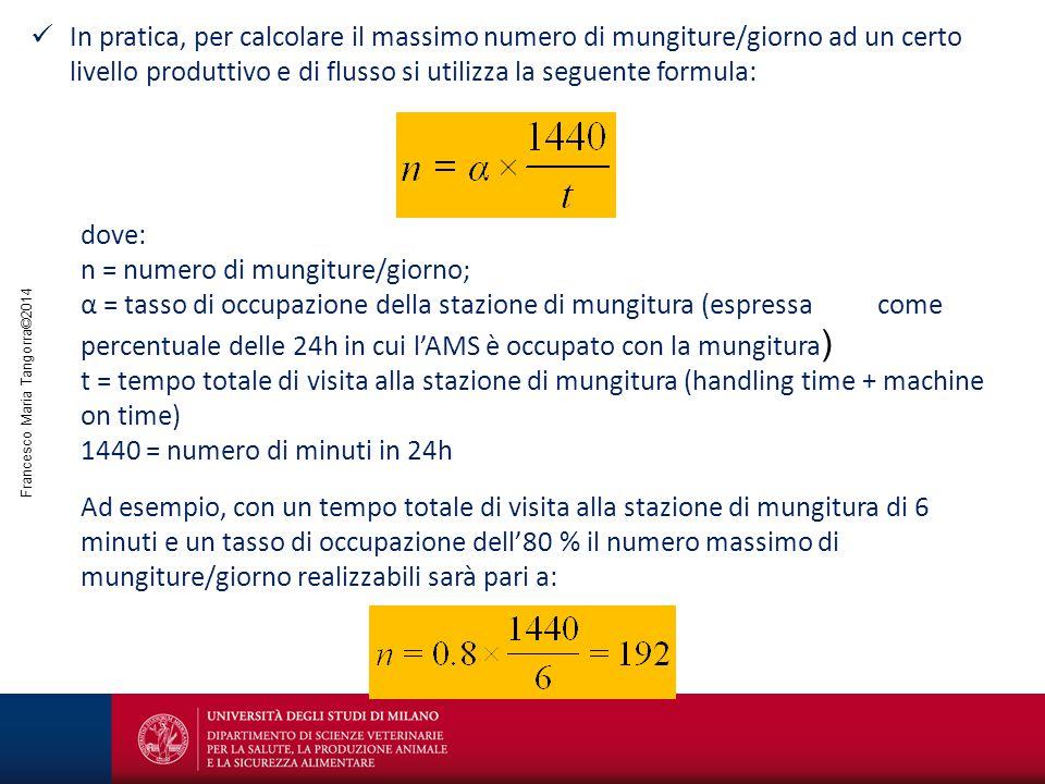 In pratica, per calcolare il massimo numero di mungiture/giorno ad un certo livello produttivo e di flusso si utilizza la seguente formula: