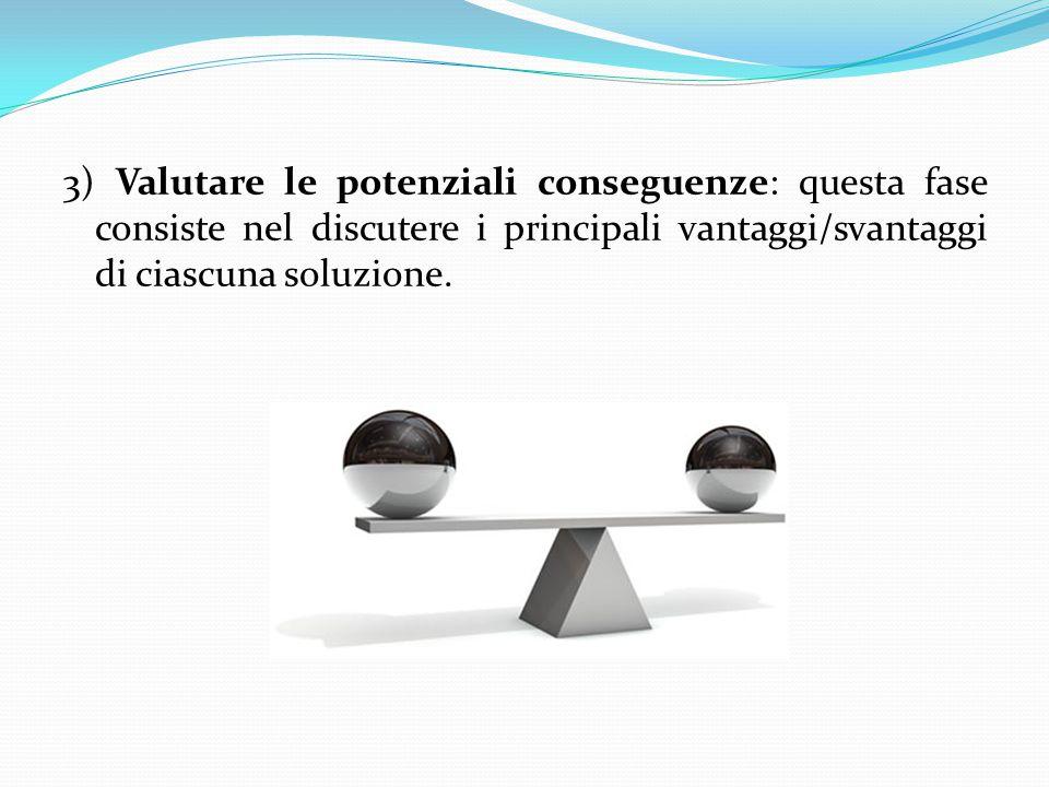 3) Valutare le potenziali conseguenze: questa fase consiste nel discutere i principali vantaggi/svantaggi di ciascuna soluzione.