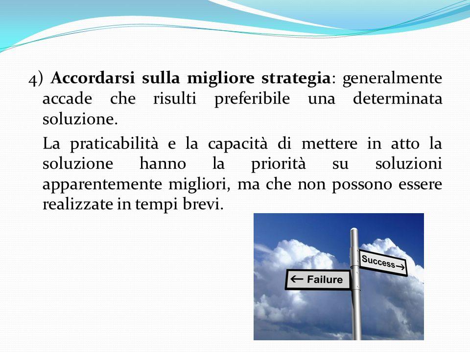4) Accordarsi sulla migliore strategia: generalmente accade che risulti preferibile una determinata soluzione.