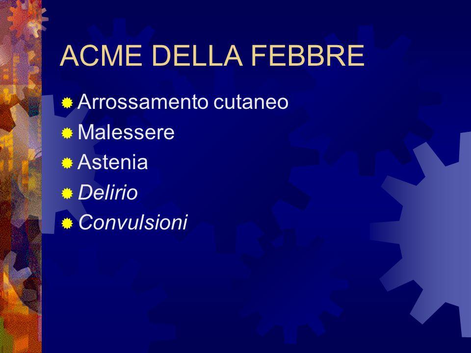 ACME DELLA FEBBRE Arrossamento cutaneo Malessere Astenia Delirio