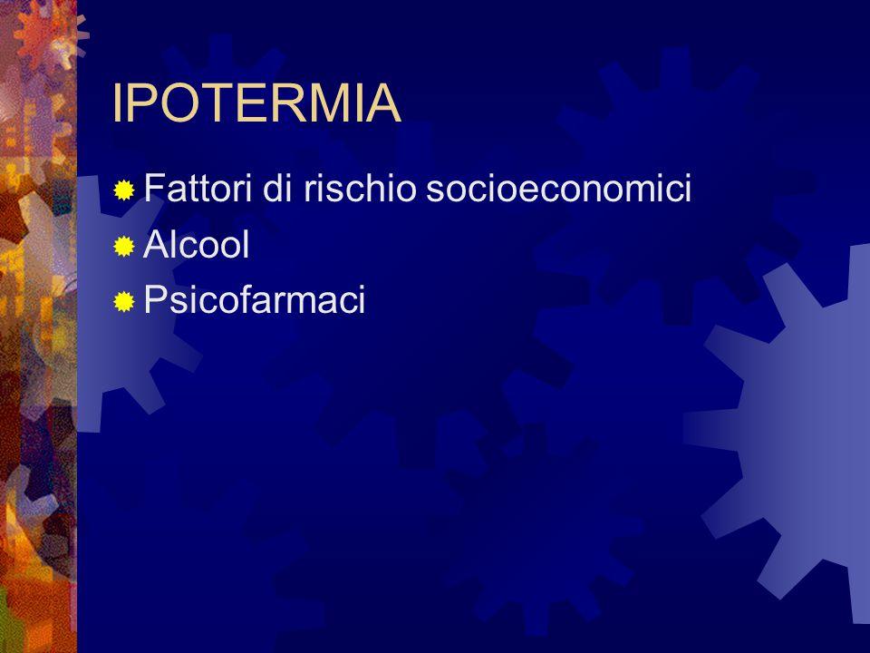 IPOTERMIA Fattori di rischio socioeconomici Alcool Psicofarmaci