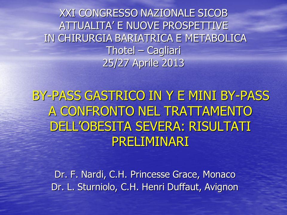 XXI CONGRESSO NAZIONALE SICOB ATTUALITA' E NUOVE PROSPETTIVE IN CHIRURGIA BARIATRICA E METABOLICA Thotel – Cagliari 25/27 Aprile 2013