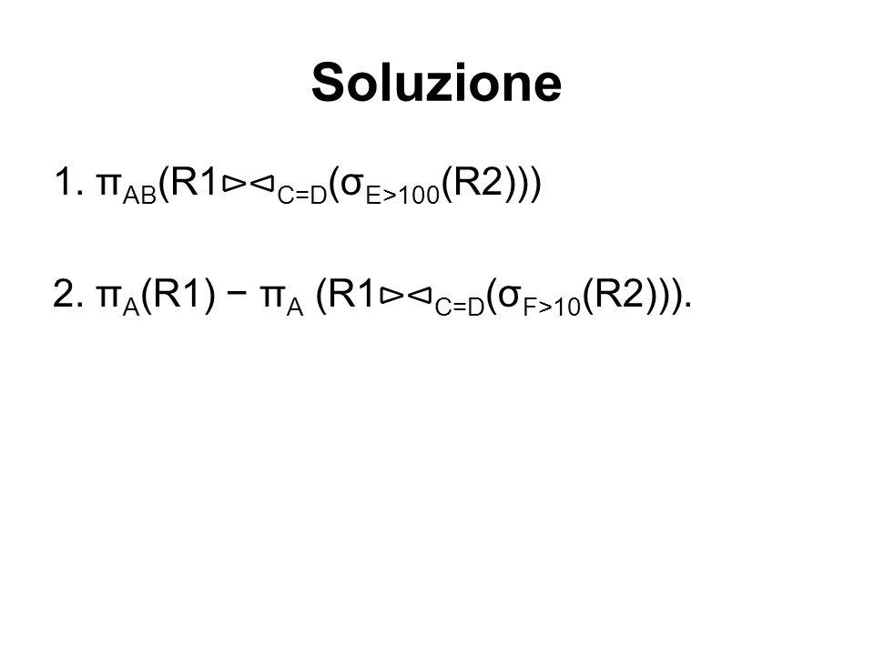 Soluzione 1. πAB(R1⊳⊲C=D(σE>100(R2)))