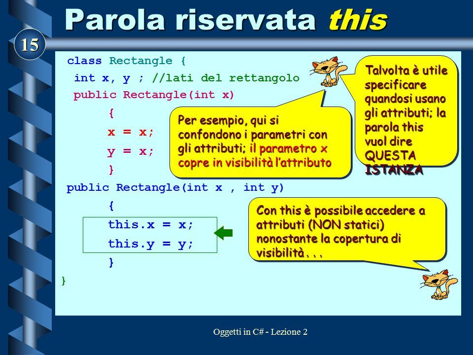 Parola riservata this x = x; y = x; } this.x = x; this.y = y;