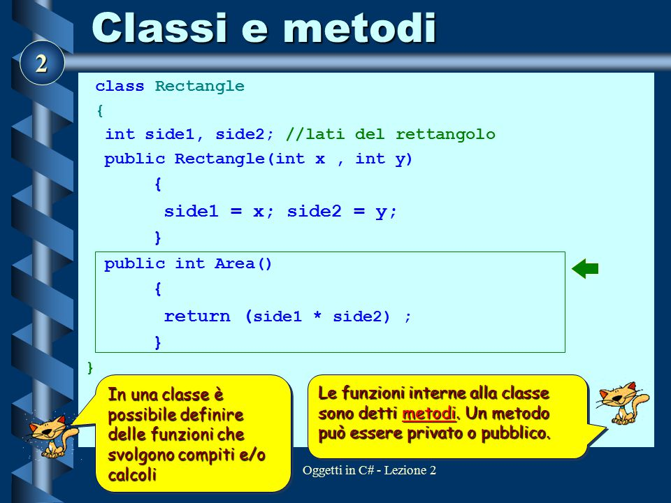Classi e metodi side1 = x; side2 = y; } return (side1 * side2) ;