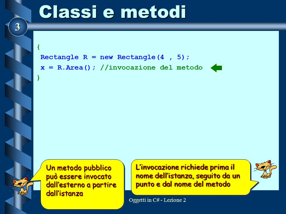 Classi e metodi { Rectangle R = new Rectangle(4 , 5);