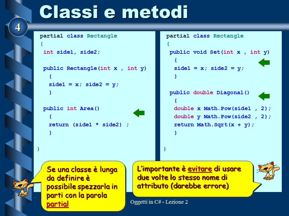 Classi e metodi partial class Rectangle. { int side1, side2; public Rectangle(int x , int y) side1 = x; side2 = y;