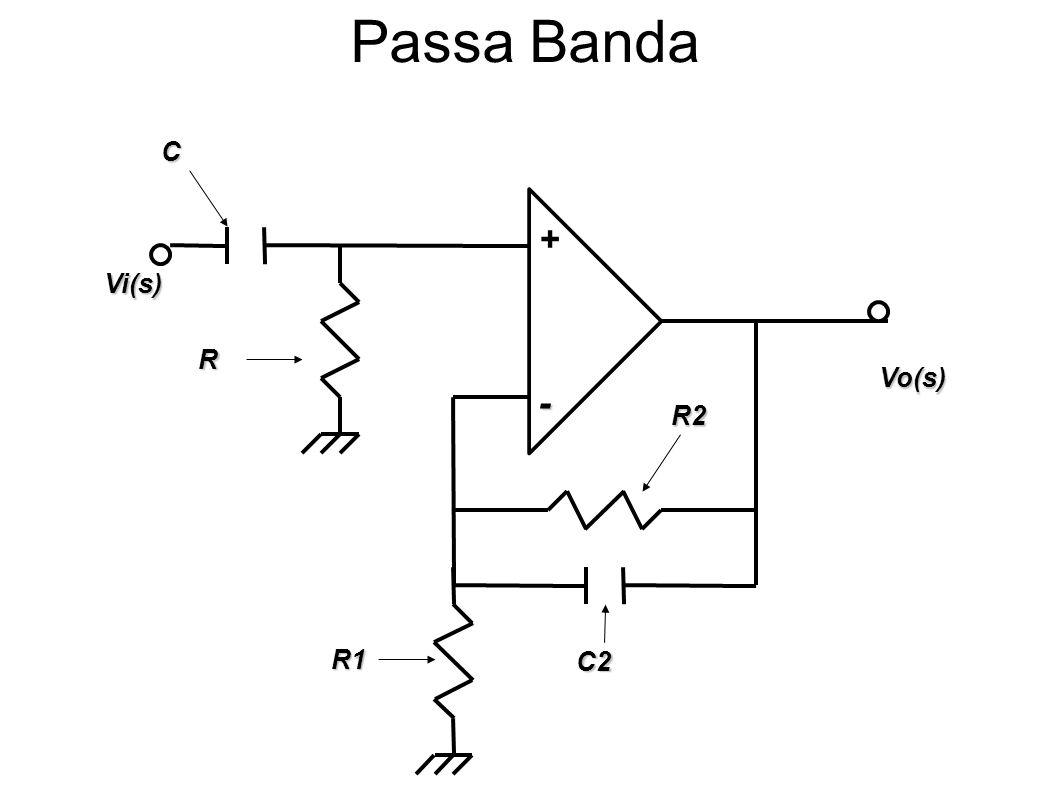 Passa Banda C + Vi(s) R Vo(s) - R2 R1 C2