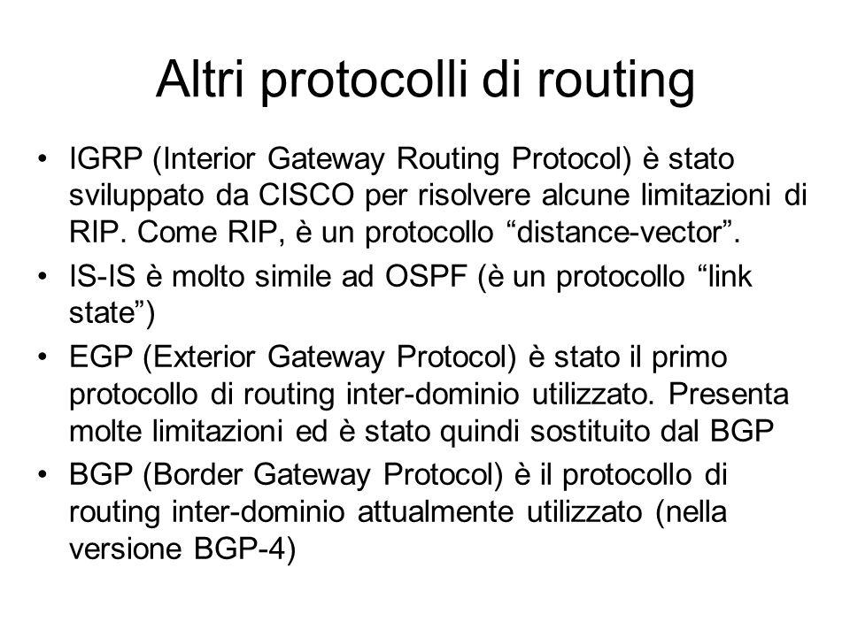 Altri protocolli di routing