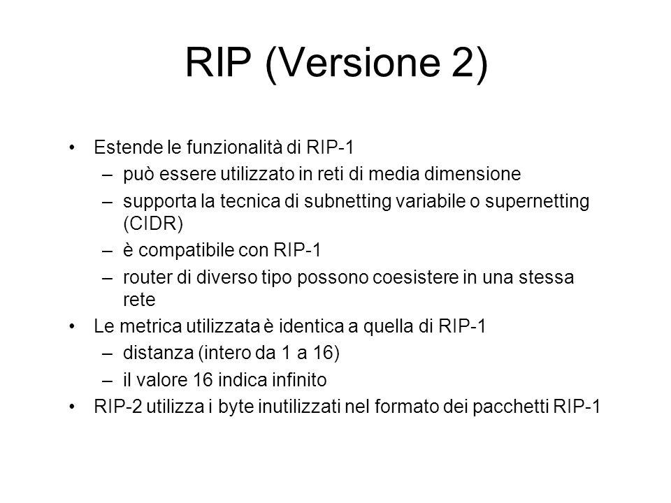 RIP (Versione 2) Estende le funzionalità di RIP-1