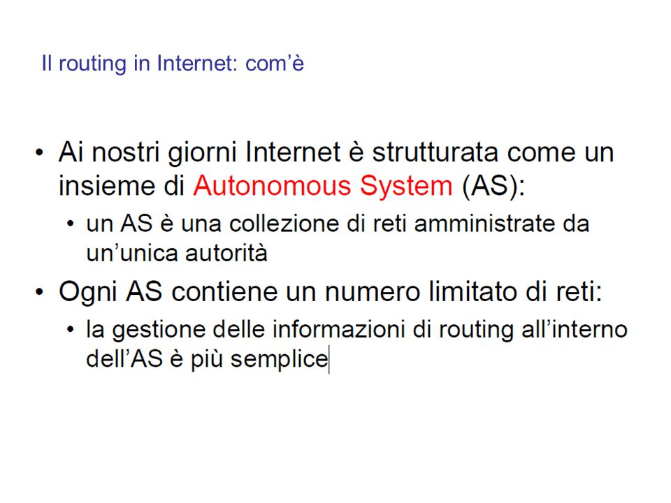 Il routing in Internet: com'è
