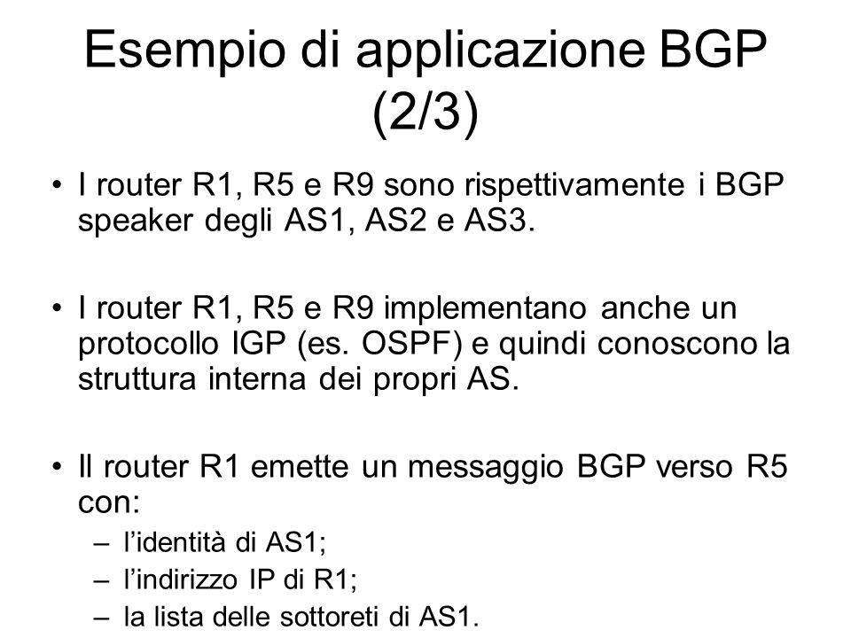 Esempio di applicazione BGP (2/3)