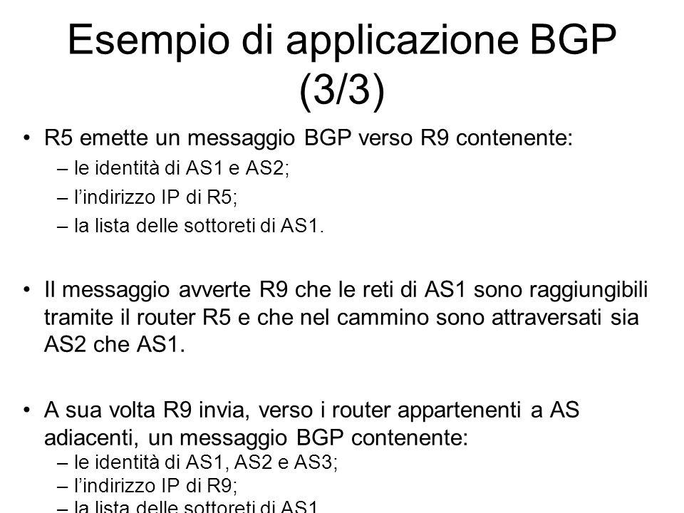 Esempio di applicazione BGP (3/3)