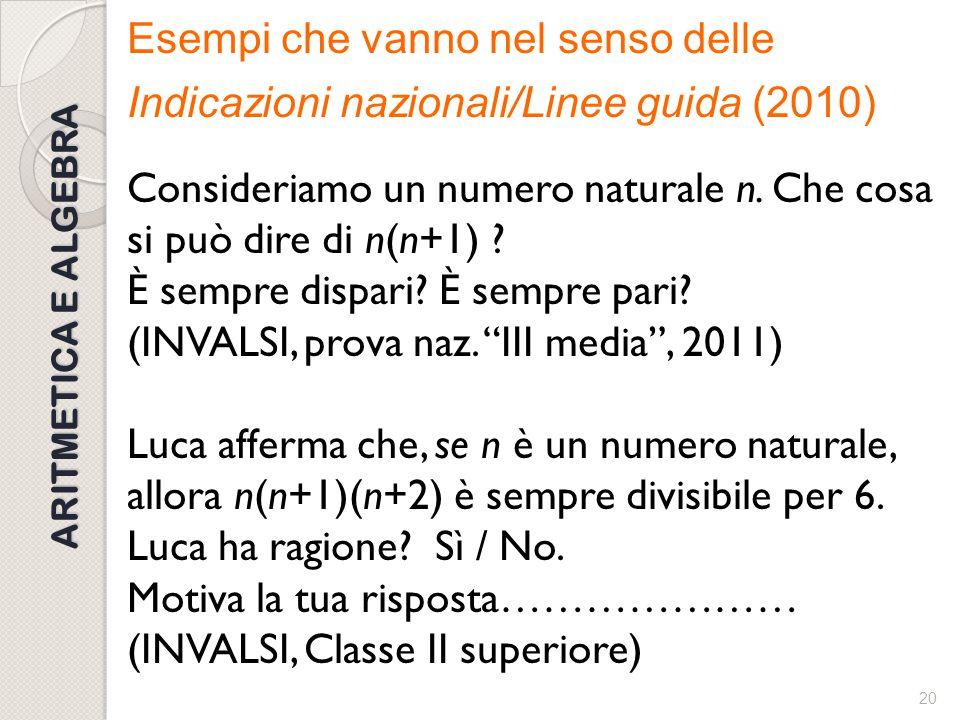 Esempi che vanno nel senso delle Indicazioni nazionali/Linee guida (2010) Consideriamo un numero naturale n. Che cosa si può dire di n(n+1) È sempre dispari È sempre pari (INVALSI, prova naz. III media , 2011) Luca afferma che, se n è un numero naturale, allora n(n+1)(n+2) è sempre divisibile per 6. Luca ha ragione Sì / No. Motiva la tua risposta………………… (INVALSI, Classe II superiore)