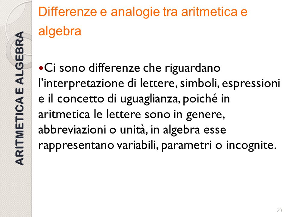 Differenze e analogie tra aritmetica e algebra