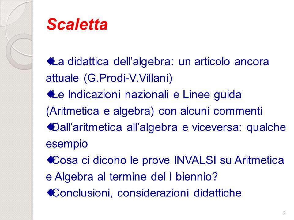 Scaletta La didattica dell'algebra: un articolo ancora attuale (G.Prodi-V.Villani)