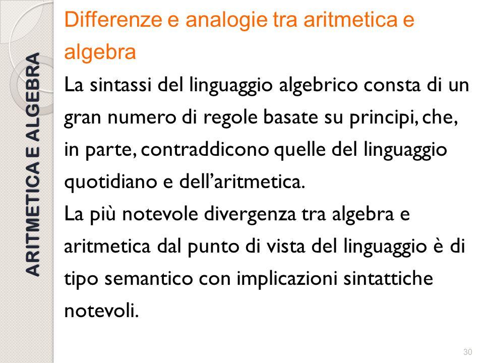 Differenze e analogie tra aritmetica e algebra La sintassi del linguaggio algebrico consta di un gran numero di regole basate su principi, che, in parte, contraddicono quelle del linguaggio quotidiano e dell'aritmetica. La più notevole divergenza tra algebra e aritmetica dal punto di vista del linguaggio è di tipo semantico con implicazioni sintattiche notevoli.