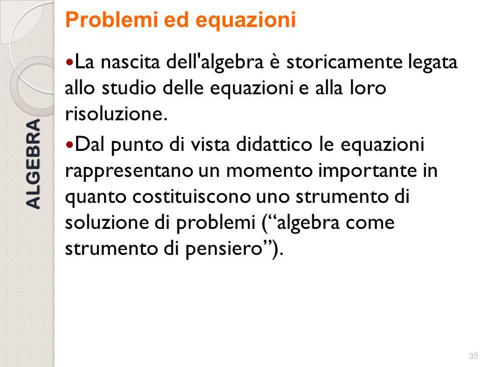 Problemi ed equazioni La nascita dell algebra è storicamente legata allo studio delle equazioni e alla loro risoluzione.