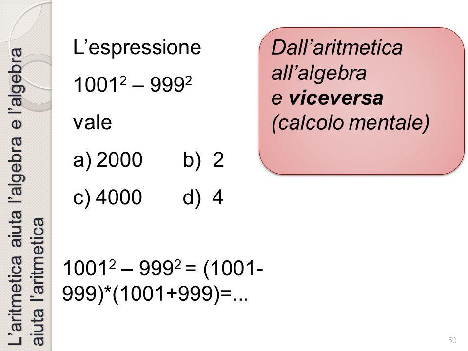 Dall'aritmetica all'algebra e viceversa (calcolo mentale)