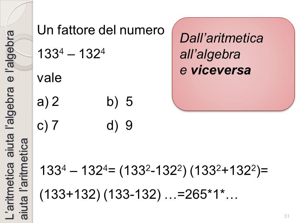 Dall'aritmetica all'algebra e viceversa Un fattore del numero