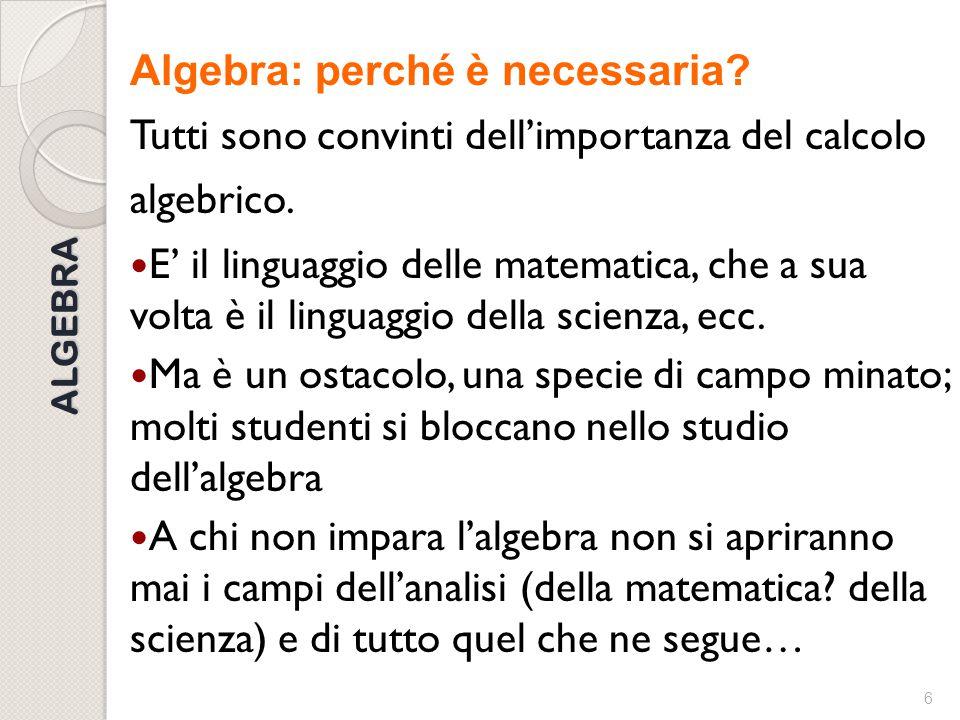 Algebra: perché è necessaria
