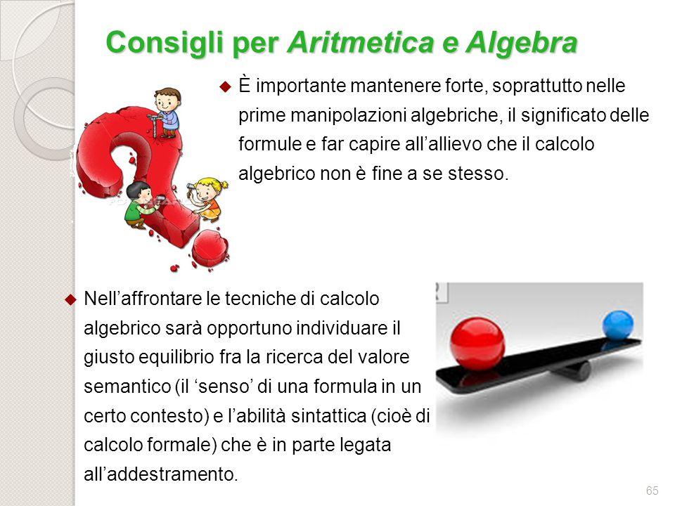 Consigli per Aritmetica e Algebra
