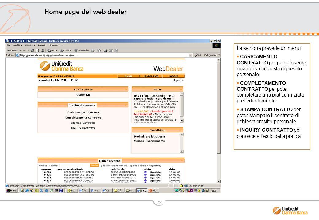 Home page del web dealer