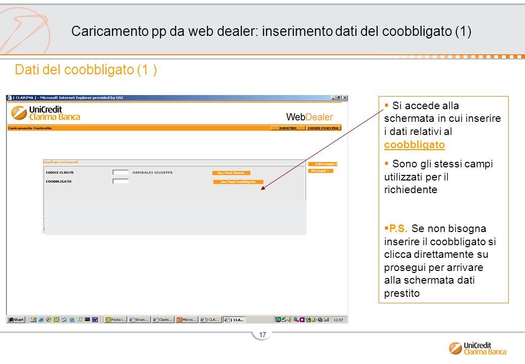 Caricamento pp da web dealer: inserimento dati del coobbligato (1)